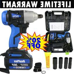 Cordless Electric Impact Wrench Rattle Nut Gun 1/2'' Driver