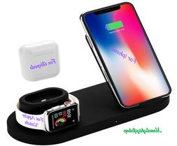 3in1 Qi Wireless Fast Charger Dock Stand For Watch AirPods i
