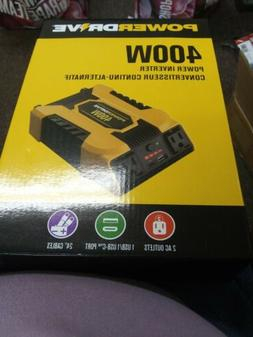 """PowerDrive 400W Power Inverter w/ 2 AC Outlets & 24"""" Cables"""