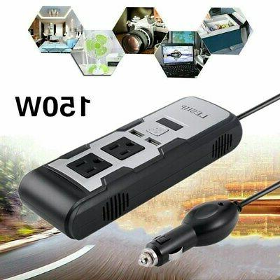 LESHP 150W Car Power Inverter with 2 AC Outlets and 4.2A Dua