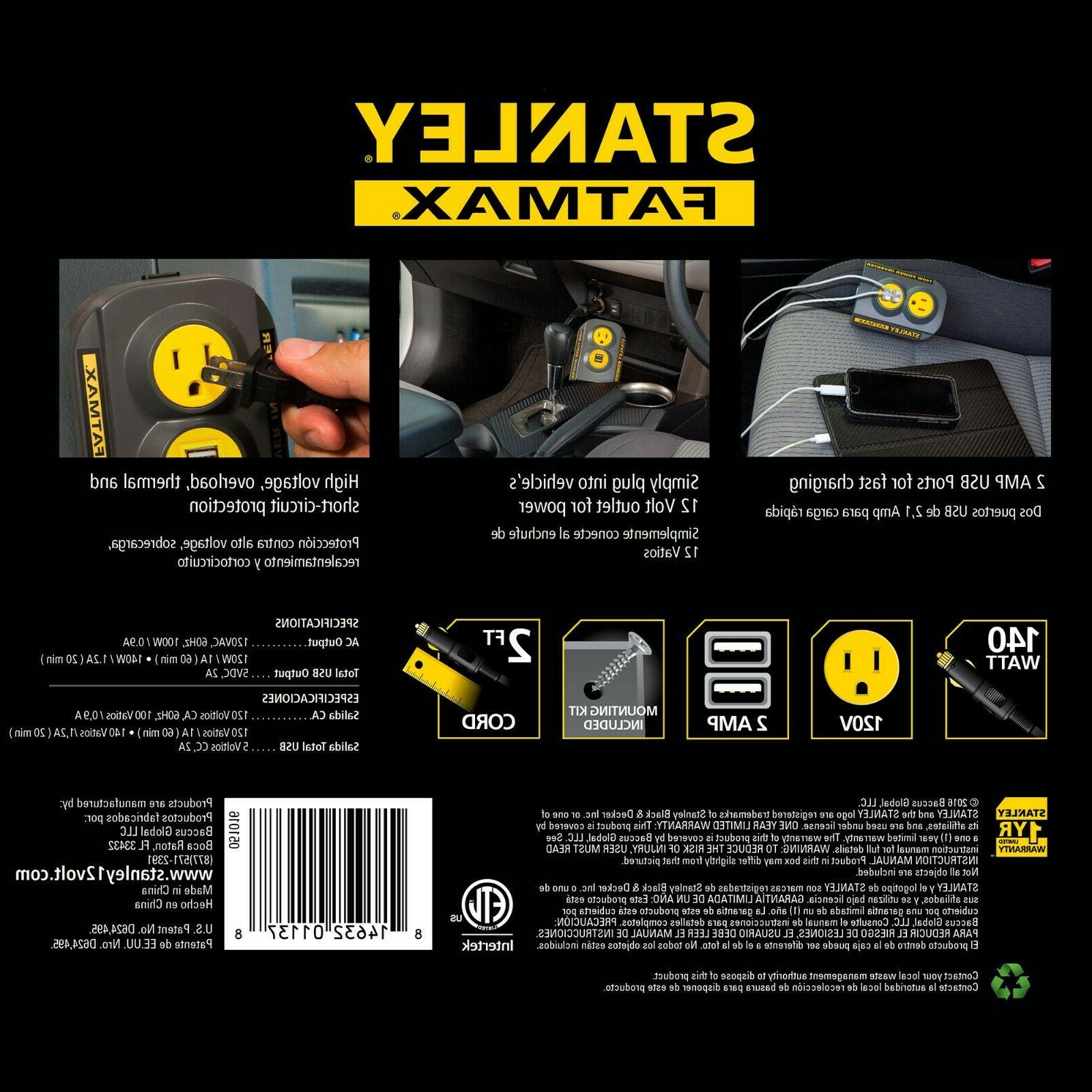 STANLEY FatMax 140W Power Inverter with Car Electronics