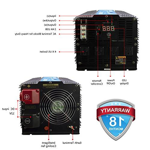 GIANDEL 4000W Heavy Pure Inverter DC12V AC120V with 4 Outlets with Remote USB and LED