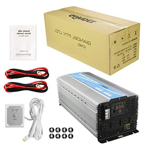 GIANDEL Heavy Duty Pure Sine Wave Power Inverter DC12V with 4 with Control USB and LED Display
