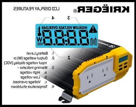 KRIËGER 12V Power Inverter Dual AC Outlets, Included, Automotive Back Power Supply Blenders, Vacuums, Tools MET and CSA.