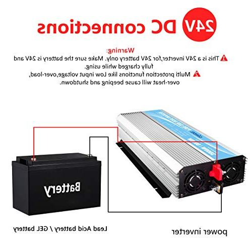 Pure Sine Inverter 3000Watt 24V to AC Outlets Control 2.4A USB LED Display