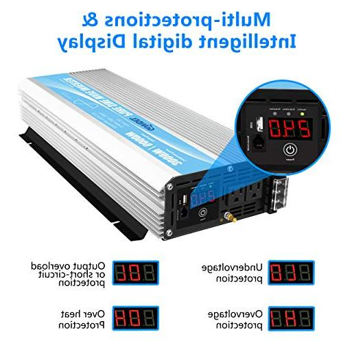 Pure Inverter 3000Watt to AC120V with Dual AC Outlets with Control 2.4A USB LED Display