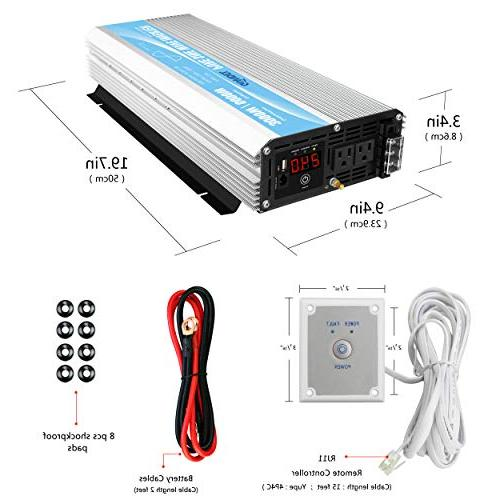 Pure Sine Inverter 3000Watt 24V to AC with Control LED Display