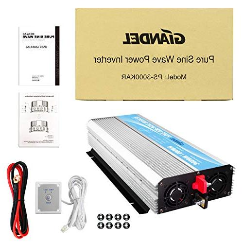 Pure Sine Wave Inverter 3000Watt to AC with Control 2.4A and LED